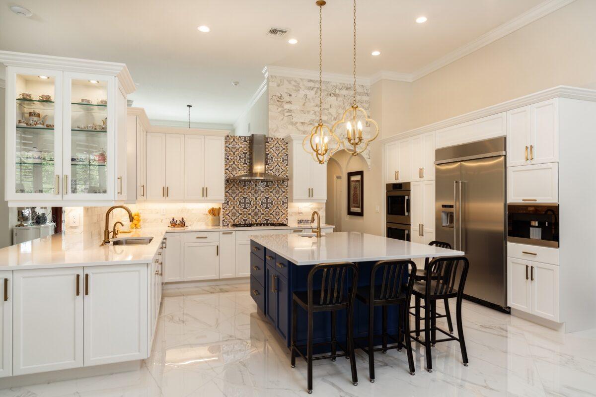 Modern White Kitchen in Estate Home