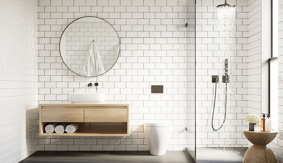 3d modern Scandinavian bathroom with white tiles round mirror an