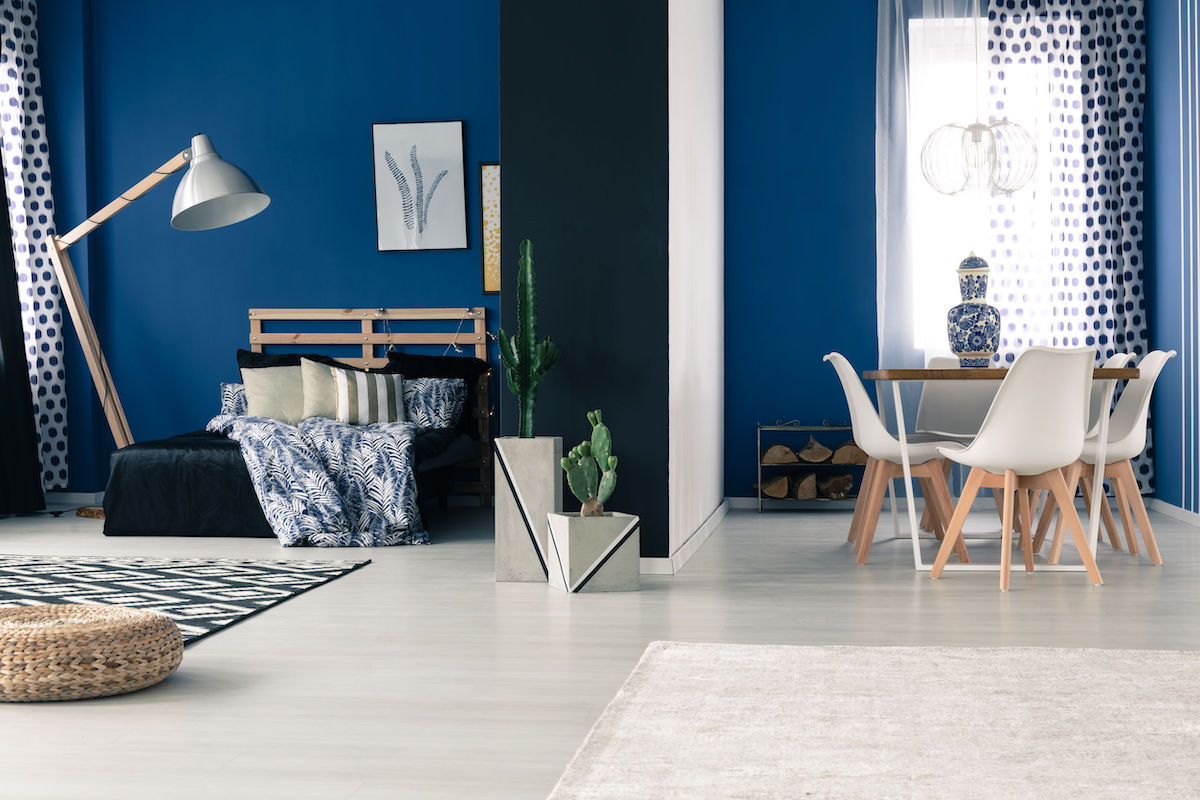Interior with bold blue walls