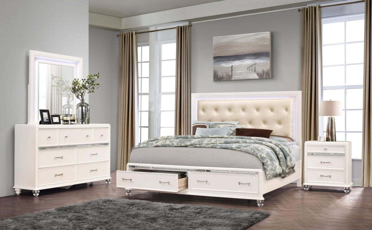 Camera da letto pareti grigio perla