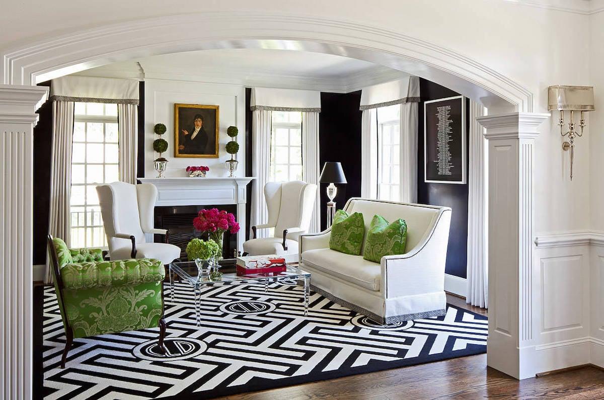 arredare-soggiorno-bianco-nero-verde