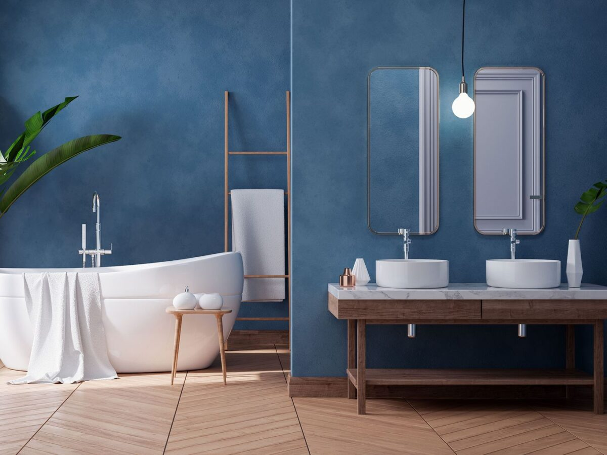 Pareti del bagno: come scegliere la tonalità denim